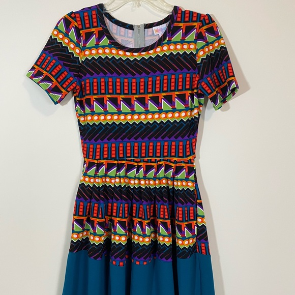 LuLaRoe Amelia Multicolor Stripped Geo Dress